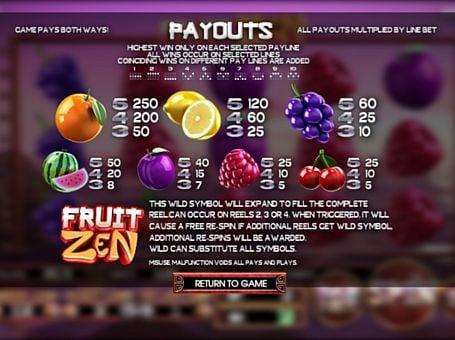 Виплати за символи в апараті Fruit Zen