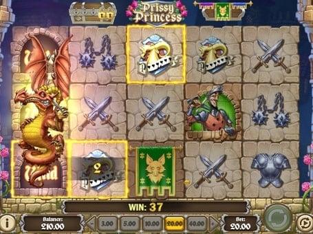 Комбинация с дикими символами в игре Prissy Princess