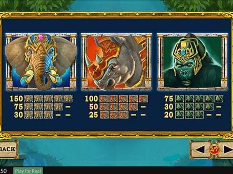 Выплаты за символы в игровом аппарате Jungle Giants