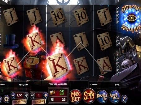 Комбинация символов на линии в игровом автомате Magic Shoppe