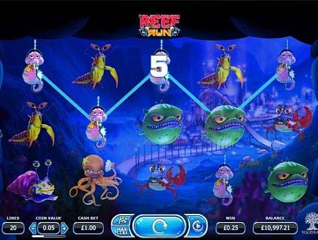 Призовая комбинация символов в игровом автомате Reef Run