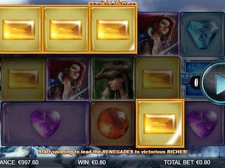 Призовая комбинация символов в игровом автомате Renegades