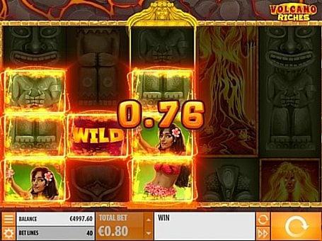Призовая комбинация на линии в игровом автомате Volcano Riches