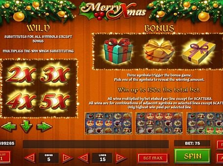 Бонусная игра и дикие знаки в слоте Merry Xmas