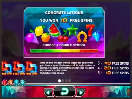Выпадение фриспинов в игровом автомате Doubles