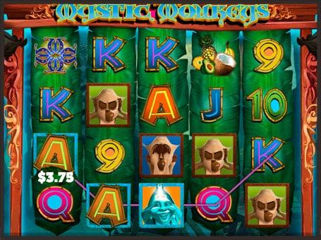 Выигрышная комбинация на автомате Mystic Monkeys