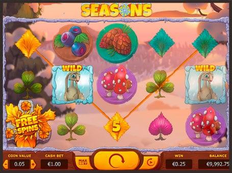 Комбинация из диких символов в игре Seasons