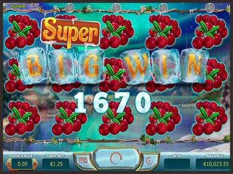 Супер большой выигрыш в игровом автомате Winterberries